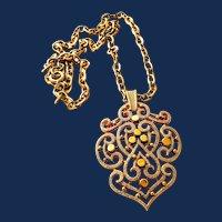 Signed Trifari Large Gold Tone Pendant Necklace