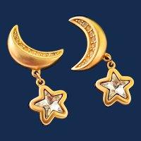 Signed Swarovski Crystal Drop Earrings