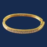 Signed Swarovski Crystal Gold Tone Bangle Bracelet
