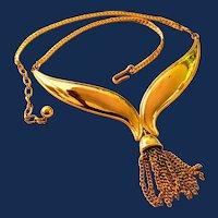 Designer Signed Avon Gold Tone Tassel Bib Necklace