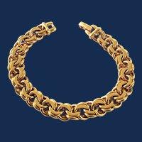Signed Monet Gold Tone Thick Link Bracelet