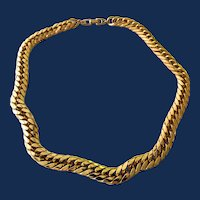 Signed Napier Gold Tone Cuban Style Chain Necklace
