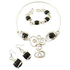Vintage Mexico Black Stone Necklace Set