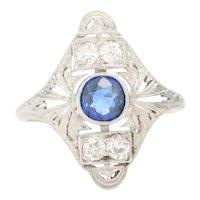 Circa 1920's Art Deco Platinum Synthetic Sapphire and Diamond Filigree Shield Ring - #190072102