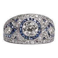 Circa 1920's Art Deco Spectacular Pave Diamond and Blue Sapphire Platinum Ring -#1900721057