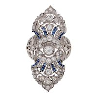 Circa 1910's Edwardian Platinum Diamond and Sapphire Old Brooch Conversion Cocktail/Shield Ring - #1900721182