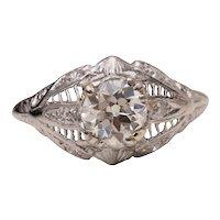 Circa 1910's Art Deco Platinum 1.04 cttw Old European Cut Diamond Filigree Engagement Ring - #190072127