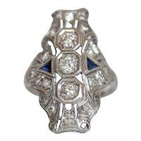 Circa 1920's Shield Ring, .76 cttw Old European Cut Diamond with Blue Sapphires - #1900721278