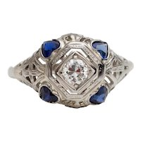Circa 1920's 14K White Gold Diamond Filigree Ring with Sapphire Heart Accents -#190072132
