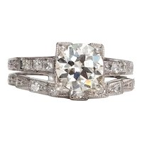 Circa 1920's Platinum 1.42 Ct Old European Cut Diamond Wedding Set -#190072135