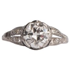 Circa 1920's Platinum 1.39 Cttw Diamond and Sapphire Split Shank Ring -#1900721368