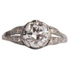 Circa 1920's Platinum 1.39 Cttw Diamond and Sapphire Split Shank Ring -#1900721368