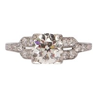 Circa 1920's Platinum 1.52 Cttw Split Shank Diamond Ring -#1900721546