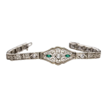 Circa 1920's Art Deco 14K White Gold Filigree Link Bracelet w/ Emerald Marquees and Old Mine Cut Diamonds  -#1900721601