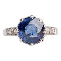 Circa 1910's Edwardian Platinum 3.15ct Ceylon Blue Sapphire W/Rose Cut Diamond Ring - #190072162