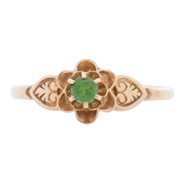 Circa 1910's Art Deco 14K Yellow Gold Floral Vintage Ring with Leaf carving and Emerald Center -#1900721667