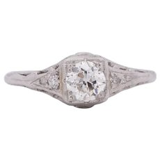 Circa 1910 Edwardian Platinum .50Ct Solitaire Illusion Head Vintage Engagement Ring-#1900721867