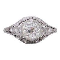 Circa 1901 Edwardian Platinum .98Ct  Solitaire Diamond Antique Filigree Engagement Ring -#1900721869