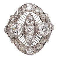 Circa 1910's Platinum 2.01 Cttw Foliate Engraved Diamond Ring -#190072190