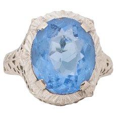 Circa 1920's 10K White Gold Vintage Filigree Blue Gem Fashion Ring -#1900722021