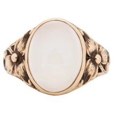 Circa 1900's Victorian 14K Yellow Gold Floral Carved Moonstone Unisex Vintage Fashion Ring -1900722022