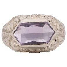 Circa 1930's Art Deco 14K White Gold Filigree Carved Amethyst Unisex Vintage Statement Ring -1900722086