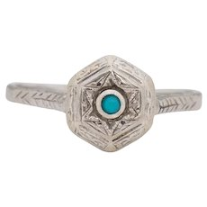Circa 1920's Art Deco 14K White Gold Turquoise Cabochon Vintage Solitaire Fashion Ring -#1900722101