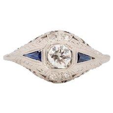 Circa 1920's Art Deco 14K White Gold Sapphire and Diamond Vintage Filigree Fashion/Engagement Ring #1900722144