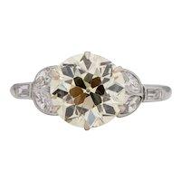Circa 1920's Art Deco Platinum Vintage Floral Motif 3Ct Solitaire Antique Engagement Ring-#1900722154