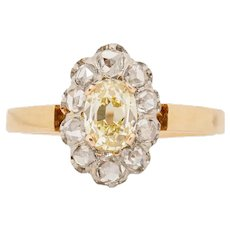 Circa 1900's Victorian 18K Yellow and White Gold Fancy Yellow GIA Certified Diamond and Rose Cut Diamond Halo Fashion Ring -#1900722167