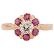 Circa 1900's Victorian 18K Rose Gold Brilliant GIA Certified Diamond and Ruby Halo Flower Motif Fashion Ring w/French Hallmark -#1900722168