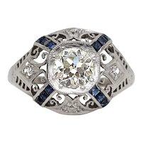 Circa 1930's Platinum Old European Diamond w/ French Cut Sapphires Engagement Ring - #19007251