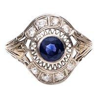 Circa 1940's 1.5cttw Blue Sapphire and Old European Cut Platinum Cocktail Ring - #19007257