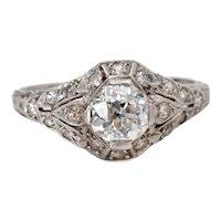 Circa 1920's Art Deco Platinum 1.13 cttw Old European Cut Vintage Diamond Engagement Ring - #190072639