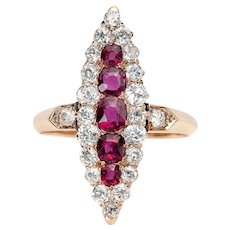 Circa 1910's Victorian 14K Yellow Gold Ruby and Diamond Vintage Navette Ring - #190072605