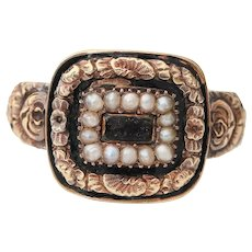 Dated 1820 Georgian 18K Antique Mourning Ring Beautifully Engraved and Adorned with Seed Pearls- #190072698