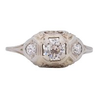 Circa 1910's Edwardian 0.45Ct Center 18K White Gold Three Stone Diamond Filigree Engagement Ring -#1900721893
