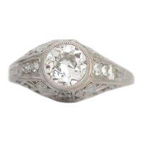 Circa 1920's Art Deco Platinum 1.1 cttw Old European Cut Solitaire Filigree Engagement Ring - #190072759