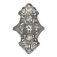 Circa 1910's Edwardian Platinum 1.71 cttw Old European Cut Diamond Shield Cocktail Ring - #190072921