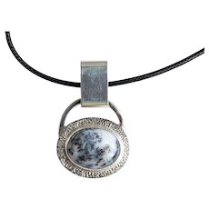 Silver pendant with white dendrite opal is a perfect gift for Christmas