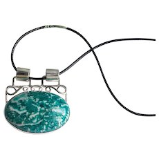 Silver pendant green amazonite one stone Christmas