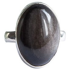 Silver ring with natural obsidian