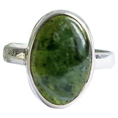 Silver ring green opal one stone natural