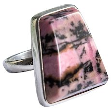 Silver ring with rhodonite natural semiprecious stone pink