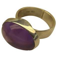 Handmade Women's Silver Ring with Natural Oval Amethyst