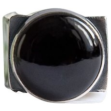Silver dimensionless ring men black obsidian hand made ring one stone