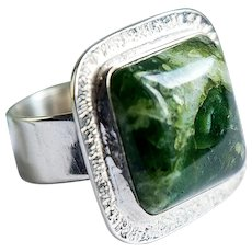 Silver unisex ring green opal one stone rings dendrite moss opal