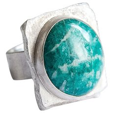 Silver ring green blue amazonite rings