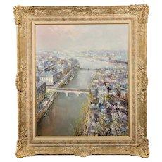 Lucien Delarue 1925 - 2011. French. The River Seine, Paris. Oil on Canvas. Framed.