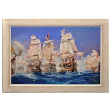 Charles Edward Dixon 1872 - 1934. English. Battle of Trafalgar. Watercolour & Gouache. 1905. Framed.